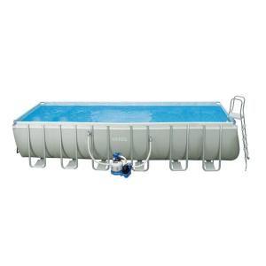 Intex 24 ft. x 12 ft. x 52 in. Rectangular Ultra Frame Pool Set 28363EG