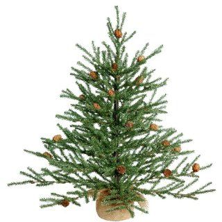 2' Carmel Pine Artificial Christmas Tree with Pine Cones and Burlap Base   Unlit