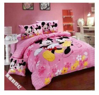 Mickey Minnie Mouse Bedding Set Queen King Size Falt Sheet 100% Cotton Printing Bedspread Bed Cover Duvet Cover (E, Twin)   Bedding Collections