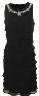 S L Fashions Women's Pearl Neck Tiered Chiffon Dress (10, Black) at  Women�s Clothing store