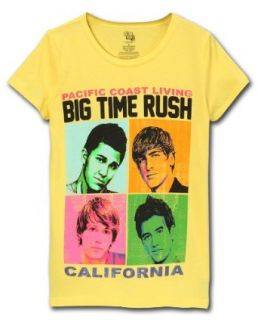 Big Time Rush Juniors Tee, Yellow, Large Music Fan T Shirts Clothing