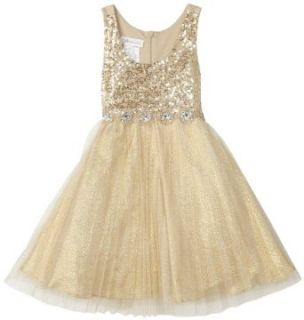 Bonnie Jean Girls 2   6X Gold Dress With Sequin Bodice and Pleated Skirt, Gold, 6 Clothing