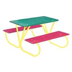 Ultra Play 3 ft. Polyethylene Green Commercial Park Portable Tabletop Preschool Table with Red Seats PY357 MC