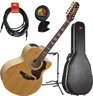 Takamine EG523SC 12 12 String Acoustic Electric Guitar w/ Hard Case, Guitar Stand, Tuner, and Cable Musical Instruments
