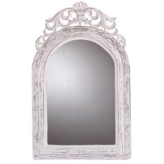Distressed White Arched Top Wall Mirror   French Country Style   Wall Mounted Mirrors