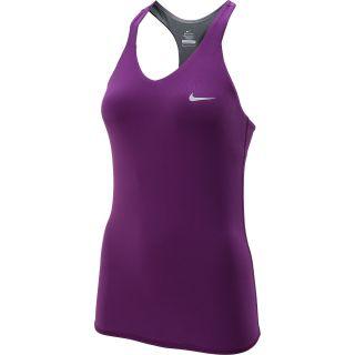 NIKE Womens Advantage Solid Tennis Tank   Size Large, Grape/silver