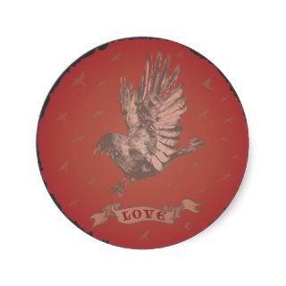 Gothic Faded wild bird with tattoo love  Sticker