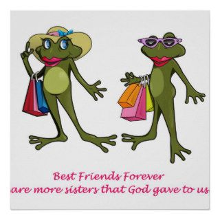BFF Best Friends Forever Frog Poster