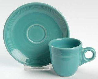 Homer Laughlin Fiesta Turquoise (Newer) Flat Demitasse Cup & Saucer Set, Fine China Dinnerware: Demitasse Cup With Saucer: Kitchen & Dining