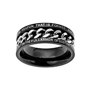 "Christian Mens Stainless Steel Abstinence Isaiah 54:17 / Ephesians 6:11 ""No Weapon That is Formed Against You Shall Prosper; Put on the Full Armor of God That You May be Able to Stand Firm Against the Schemes fo the Devil"" Chastity Black & Si"