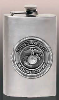 USMC Marine Corps 8 oz Stainless Hip & Travel Flask: Sports & Outdoors