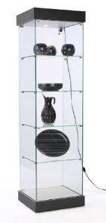 """74""""h Glass Display Cabinet with 4 Fixed Height Glass Shelves, Curio Case for Collectibles, Locking Hinged Door, Hidden Wheels, Canopy Light   Ships Unassembled, MDF with Black Laminate Finish Base and Top   Free Standing Cabinets"""