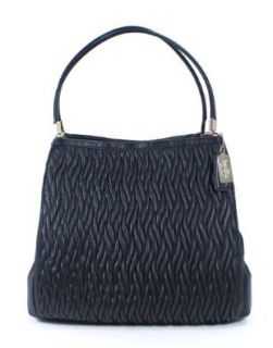 Coach Madison Gathered Twist Leather PHOEBE Shoulder Bag in Black Handbags Shoes