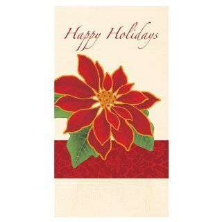 "Hoffmaster 831209 602 FD395 2 Ply Ecru Dinner Napkin, 1/8 Fold, 17"" Length x 15"" Width, Botanical Poinsettia (4 Packs of 250): Industrial & Scientific"