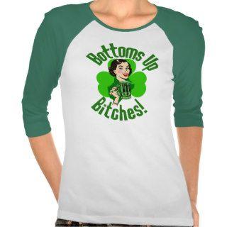 Funny Irish Bottoms Up Tee Shirts