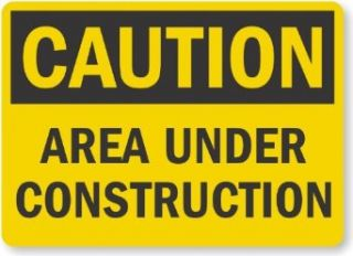 "SmartSign Aluminum OSHA Safety Sign, Legend ""Caution: Area Under Construction"", 18"" high x 24"" wide, Black on Yellow: Industrial & Scientific"
