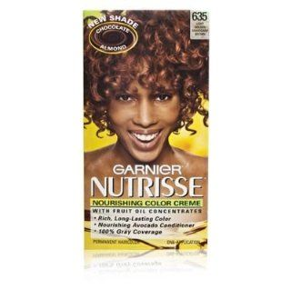 Garnier Nutrisse Nourishing Color Creme with Fruit Oil Concentrate 635 Chocolate Almond Light Golden Mahogany Brown   Chemical Hair Dyes