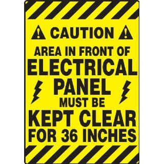"Accuform Signs PSR640 Slip Gard Adhesive Vinyl Mat Style Floor Sign, Legend ""CAUTION AREA IN FRONT OF ELECTRICAL PANEL MUST BE KEPT CLEAR FOR 36 INCHES/PRECAUCION EL AREA EN FRENTE DEL CUADRO ELECTRICO DEBE PERMANECER LIBRE POR 36 PULGADAS"", 14&q"