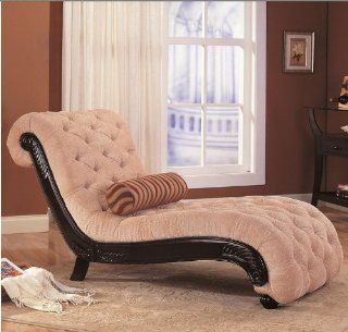 Coaster Furniture 550064N Traditional Chaise with Button Tufting and Carved Wood Trim 550064N   Chaise Lounges
