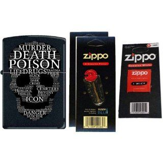 Zippo 1312 Classic Skull Words of Mayhem Black Matte Windproof Pocket Lighter with Two Flint Card and One Wick Card: Watches