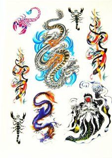 BT0069 Colorful Chinese Dragon Snake, Removable Tattoos, Easy Fun, Non Toxic: Beauty