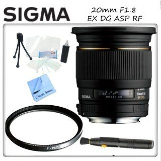 Sigma 20mm f/1.8 EX DG RF Aspherical Wide Angle Lens for Nikon Digital SLR Cameras  Includes Protective UV Filter, Lens Cleaning Pen, Starters Kit & CS Microfiber Cleaning Cloth  Digital Camera Accessory Kits  Camera & Photo