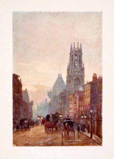 1905 Print Marshall London England Fleet Street Dunstan West Church Guild Horse   Original Color Print