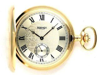 Bernex Swiss Made Large Gold Plated Pocket Watch with 17 Jewel Mechanical Movement: Watches