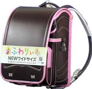 Waryi wide size school bag glitter ribbon color combination and mark (63 646) Girls sepia (body) x Pink (helicopter) Handle with handle Clarino F matte A4 clear file pocket A4 file size for Olivier (japan import): Office Products