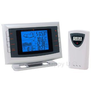 Hideki TE653ELW (Made by the same OEM as Honeywell, Meade, Nexxtech) Complete Weather Station Forecaster with Atomic Clock, Indoor/Outdoor Temperature, Humidity & Barometric Pressure   Desktop Clock With Weather Warning
