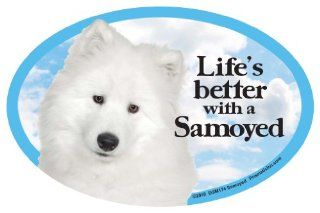 Samoyed Oval Dog Magnet for Cars  Pet Memorial Products