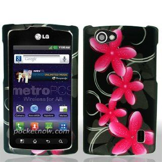LG Optimus M+ / Plus / MS695 MS 695 Black with Pink Floral Flowers Black Swirl Vines Design Snap On Hard Protective Cover Case Cell Phone Cell Phones & Accessories