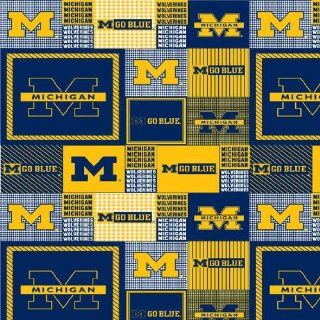 60'' Wide Collegiate Fleece University of Michigan Allover Blue/Yellow Fabric By The Yard