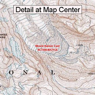 USGS Topographic Quadrangle Map   Mount Rainier East, Washington (Folded/Waterproof)  Outdoor Recreation Topographic Maps  Sports & Outdoors