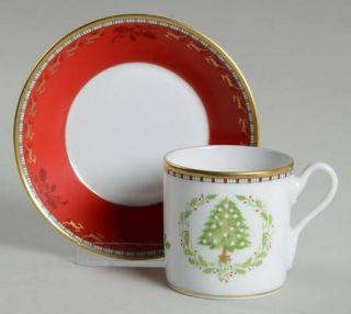 Richard Ginori Merry Ginori Christmas Flat Demitasse Cup & Saucer Set, Fine Chin