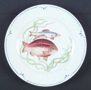 Fitz & Floyd La Mer Salad Plate, Fine China Dinnerware   Blue Band,Various Fish