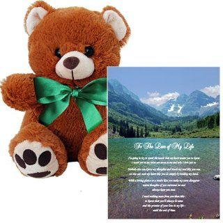 Romantic Gift for Him or Her   Meaningful Anniversary or Birthday Present   5x7 Inch Love Poem with Bear Toys & Games