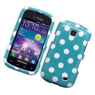 For Straight Talk Samsung Galaxy Proclaim s720c Hard Case Polka Dots White Blue
