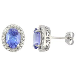 10K White Gold Diamond Natural Tanzanite Earrings Oval 7x5 mm: Jewelry