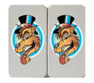 Panting Cartoon Wolf Head in a Top Hat   White Taiga Hinge Wallet Clutch Clothing