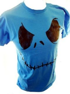 Nightmare Before Christmas Mens T Shirt   Jack Skellington's Face on Blue (Small): Clothing