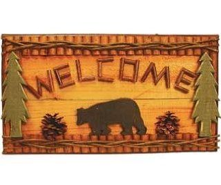 """Hand crafted Black Bear Welcome Sign Plaque with Green Pine Trees (Made of Wood) 18""""   Decorative Signs"""