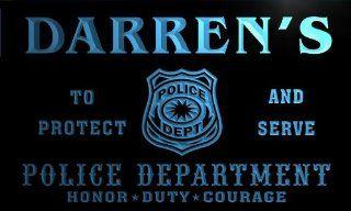 tk240 b Darren's Police DEPT Department Badge Policemen Bar Beer Neon Light Sign
