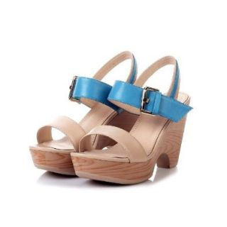 G small HOT Selling Madden Women Lady Girls Fashion Classic Pumps Platform Buckle Ankle Strap Thong Shoes Sandal High Heels Multi Colored (39, apricot+blue) Shoes