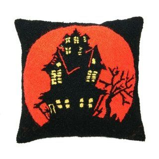 Halloween Haunted House & Moon Throw Pillow, Hooked Wool, 18 Inches X 18 Inches