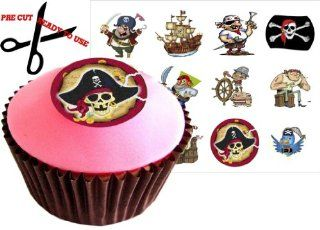 12 PIRATE SET 38mm (1.5 Inch) PRE CUT Cake Toppers Edible Rice Paper Cupcake Decoration 106