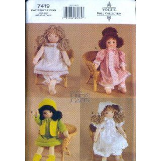 Vogue 7419   18 Inch Rag Doll Clothes Patterns   Pajamas, Dresses, Bloomers, Bonnet, Slip (Vogue Doll Collection, Also Sold As Vogue 754) Linda Carr Books