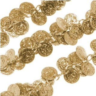 Bright Gold Plated 10mm Coin Charm Chain   Bulk By The Foot