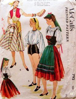 McCall's 792 Misses and Girls' Folk Dance Costume Sewing Pattern Vintage 1940s Gypsy, Peasant, Italian, Folk Tap Dancing: Everything Else
