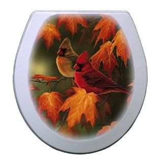 Comfort Seats C1B4R2 782 00CH Maple Leaves and Cardinals Round Toilet Seat with Chrome Alloy Hinge, White